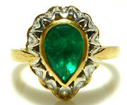 18k Yellow White Gold 1.50ct Pear Shaped Emerald .30ct Diamond Cocktail Ring