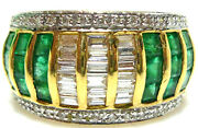 Hollywood Jewels 18k Yellow Gold Emerald Diamond .80ct Ring Band Retail 4500
