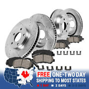 Front+rear Drill Slot Brake Rotors And Ceramic Pads For 2009 2010 - 2012 Bmw 750