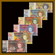 Pitcairn Islands 5 - 500 Pounds 6 Pcs Set Matching S/n Fantasy Note Polymer