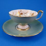 Elegant Sage Green Pedestal With Gold Floral Accents Aynsley Tea Cup And Saucer