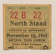 Antique 1915 Univ Of Minnesota Vs Chicago Football Ticket Old 1910 Early Vintage