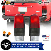 Depo Pair Of Red/smoke Rear Tail Lights For 1997-2001 Jeep Cherokee Xj