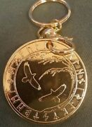 Viking Ravens And Good Luck Talisman Keychain Key Chain Coin Token Gold Plated