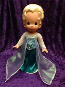 Precious Moments Disney Frozen Elsa Sister Of Anna 12 Signed Doll With Stand