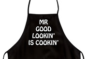 Funny Apron For Dad Mr Good Lookin' Is Cookin' Novelty Aprons For Men