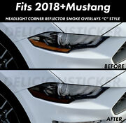 For 2018-2021 Mustang Headlight Corner Smoke Amber Overlays Tint Vinyl Precut