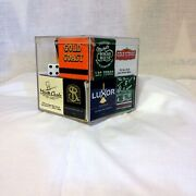 34 Las Vegas Matchbooks Of Different Casinos/hotels In A Cube Plastic Box