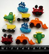 Childrens Buttons Things That Go Zoom Transport Train Boat Digger Novelty Craft
