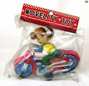 Vintage 1950s Novelty Toy - Haji Toy - Made In Japan Lady Tin Toy Motorcycle