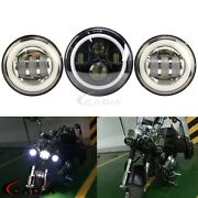 Led Round Motorcycle 7 Projector Headlight + Pair 4.5 Fog Spot Lamp For Harley