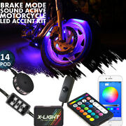Rgb Multi Color 84led Neon Motorcycle Engine Wheel Underglow Accent Lighting Kit