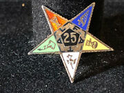Old Vtg Collectible Oes Order Of The Eastern Star 25 Fatal Sterling Pin Jewelry