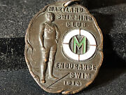 Old Vtg Collectible 1914 Maryland Swimming Club Endurance Swim Medal Bronze