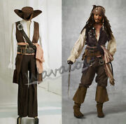 Pirates Of The Caribbean Captain Jack Sparrow Cosplay Costume Outfitsws