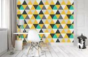 Triangles Pattern Wallpaper Woven Self-adhesive Wall Art Mural Home Design T05