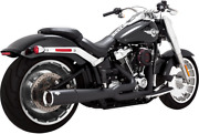 Vance And Hines Black 2 Into 1 Pro Pipe Exhaust For 18-19 Harley Davidson Softail