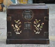 16 Huge Old Chinese Rosewood Inlay Shell Bird Statue Jewelry Box Drawer Cabinet
