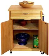 Butcher Block Kitchen Cart W/towel Bar Locking Caster Wheels Drawer And Cabinet