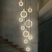 Led Bulbs Chandelier Loft Hanging Lights Modern Home Ceiling Stairs Decorations