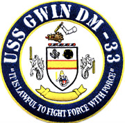 5 Navy Uss Gwin Dm-33 Embroidered Patch