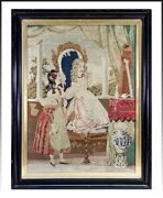 Superb French Victorian Era Needlepoint Tapestry In Frame 2 Girls Interior