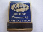 Les White Dodge Plymouth Los Angeles Ca Full Matchbook