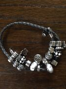 Pandora Sterling/leather Double Length Bracelet With Charms