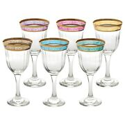 Red Wine Glass Set Of 6 Melania Collection Multi-color