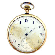 Elgin White Dial And Gold Coloured Pocket Watch For Parts Or Repairs