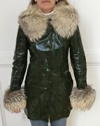 Vintage Dolce And Gabanna Womenandrsquos Green Leather Jacket With Real Fur Trim Size 40