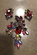 Vintage Weiss Large Brooch And Clip On Earrings Colorful Rhinestone Jewelry Set
