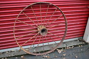 Large Antique Wagon Tractor Wheel Metal 18 Spoke 43 Tall 1 Country Americana