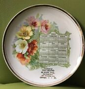 Antique 1911 Calendar Plate Poppies By Dresden China The Grand Chicago