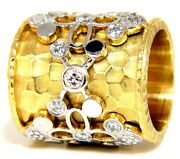 1.10ct 14kt Diamonds Spanish Goth Deco Revival Hammered Finish Band+