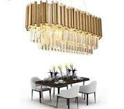 Modern Crystal Chandeliers Luxury Oval Hanging Light Fixtures Dining Room Decors