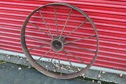 Large Antique Wagon Tractor Wheel Metal 14 Spoke 40 Tall Country Decor 1