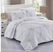 Vintage Ruched Peal Accented Comforter Coverlet Bedding Vermicelli Quilting