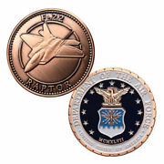 U.s. United States Air Force Usaf | F-22 Raptor | Copper Plated Challenge Coin