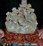 Chinese Natural Hetian Jade Hand Carved Three Chicken Animal Feng Shui Statue A