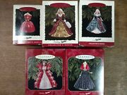 Lot Hallmark Ornaments. Holiday Barbies, 1993,95,96,97,and,98. Missing 1994