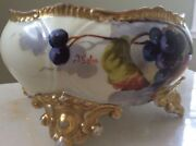 Limoge France Footed Bowl With A Limoge Hand Painted Wall Plate