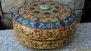 Antique Chinese Large 16d Cloisonne Covered Box W/ Dragon Jade Insert In Lid 2