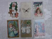 6pc Antique Victorian 5 Christmas 1 New Year Postcards / Cards
