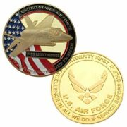 U.s. United States Air Force Usaf | F-35 Lightning Ii | Gold Plated Coin