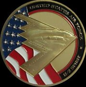 U.s. United States Air Force Usaf | B-2 Spirit | Gold Plated Challenge Coin
