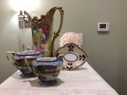 Nippon Hand Painted Pitcher Vase,nippon Sugar And Creamer,nippon Candy Dish And