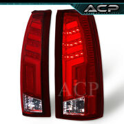 Clear Tron Style 3d Red Led Neon Tube Tail Lights Lamps For 88-98 C/k 1500 2500