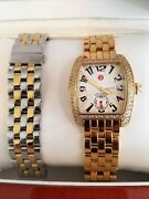 Gold Michele Watch With Diamond Face Plus Switch Bands
