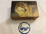 Vtg Wolf Lover Lot Wood Trinket Jewelry Box Wolf Shaped Ornament Wolf In Snow